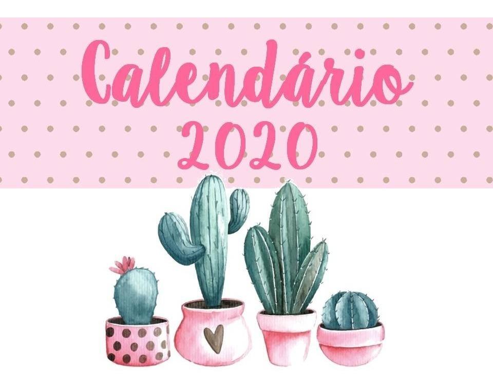 Calendario 2020 Gratis Con Foto.Calendario Planner 2020 Mensal Cactos Feriados Agenda Pdf
