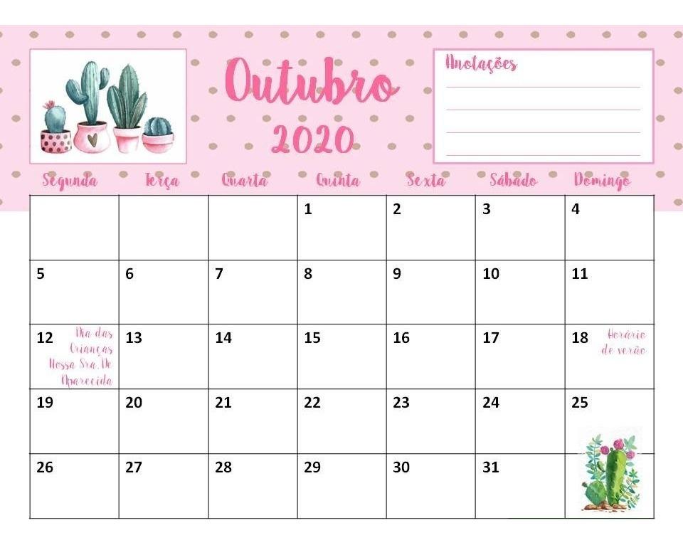 Calendario 2020 Com Feriados Para Impressao.Calendario Planner 2020 Mensal Cactos Feriados Agenda Pdf
