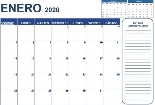 calendario programador planeador 2020 (tamaño a3) + notas