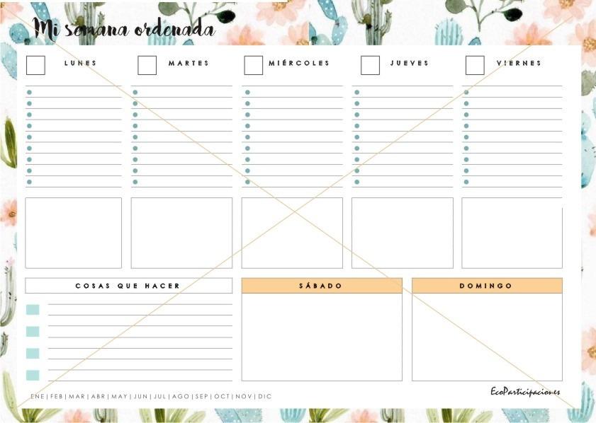 Calendario Semanal.Calendario Semanal