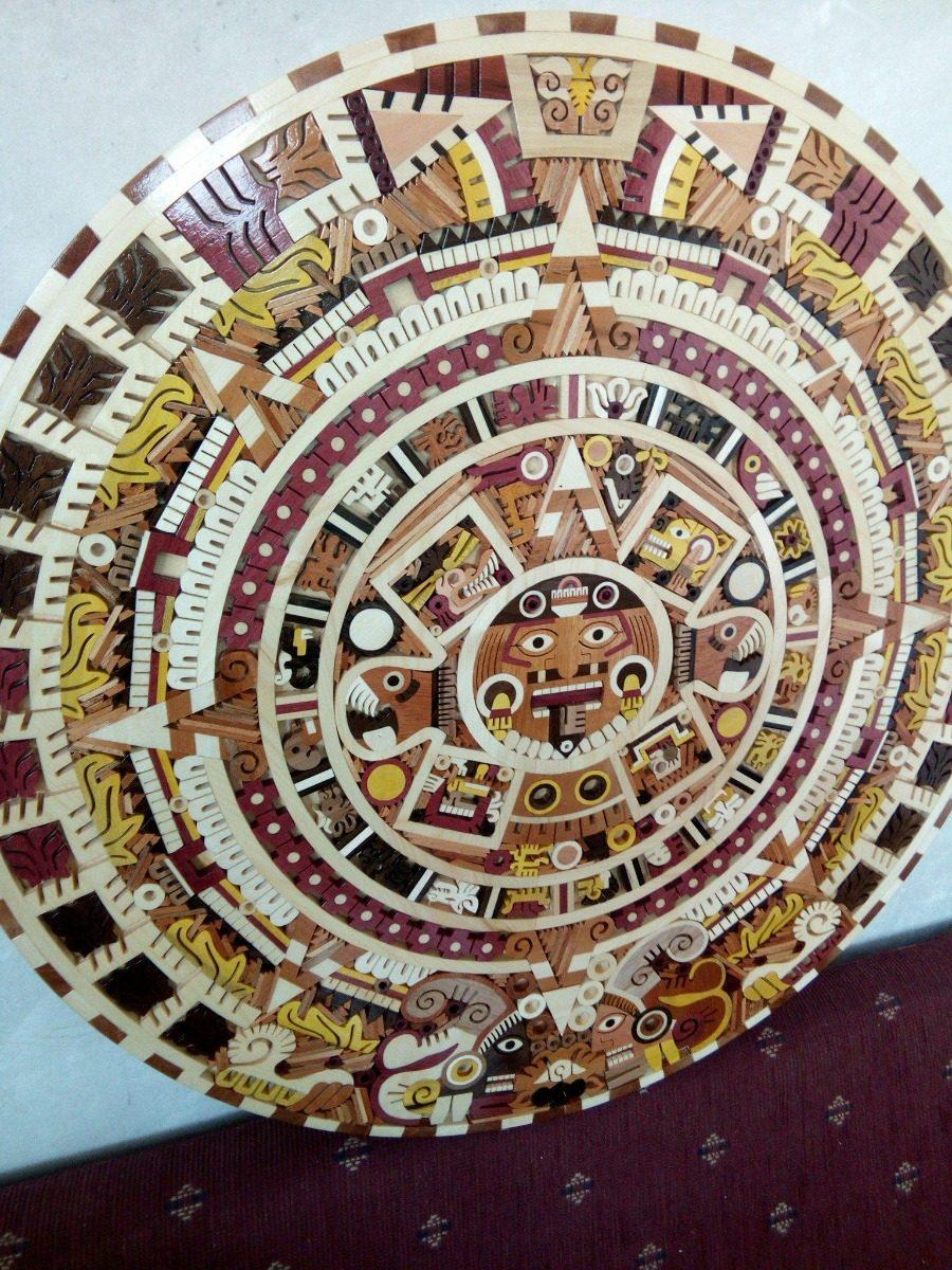 Calendario Sol Azteca Artesanía Maderas De Colores 60cm 399800