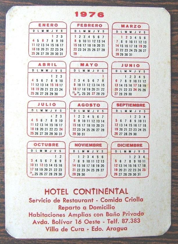 Calendario Julio 1976.Calendario Vintage 1 976 Extinto Hotel Continental Bs 20 000 00