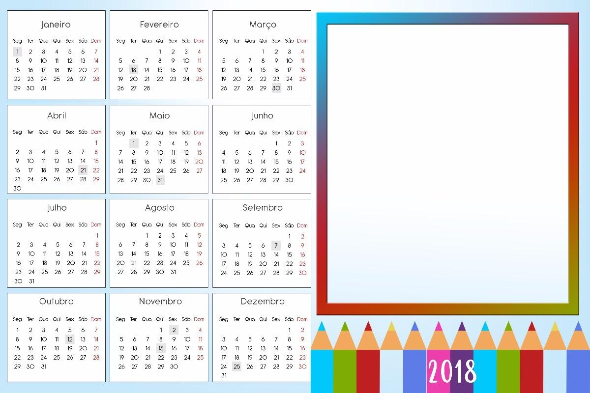 Calend rios 2018 escola molduras para fotos png r 8 00 for Calendario de pared 2018