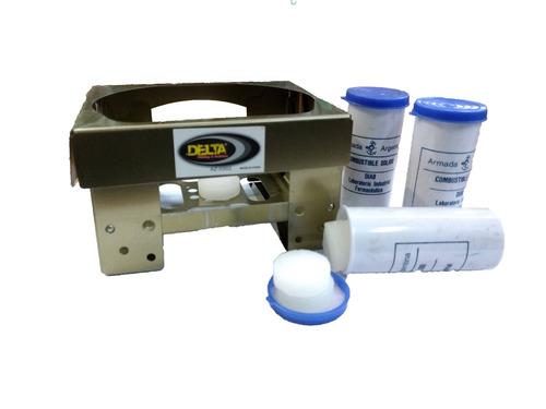 calentador a pastilla de alcohol  camping, delta + 10 tubos