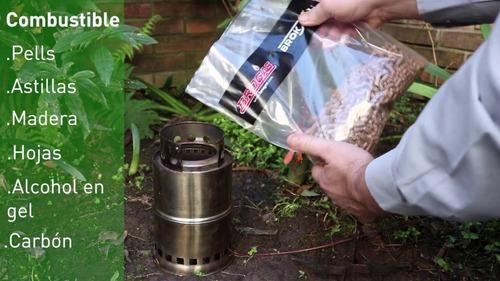 calentador camping a biomasa plegable broksol con pellets