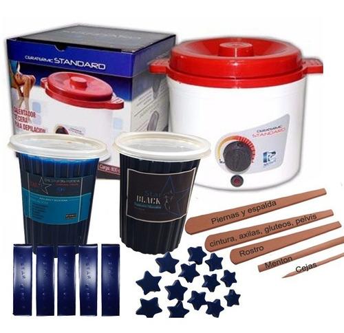 calentador cera + cera azul elástica o negra + espatulas