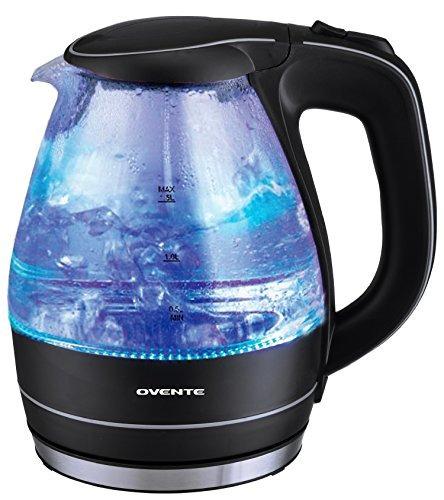 calentador de agua electrico de 1.5l de vidrio, negro