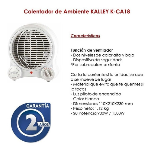 calentador de ambiente  k-ca18 de kalley 900w 1500w original