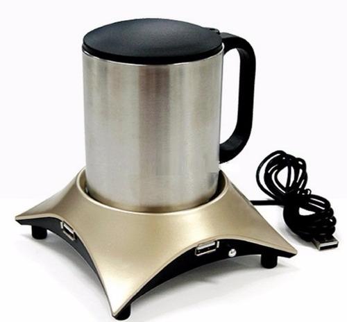 calentador de bebidas cafe té  y hub usb 4 puertos ypt