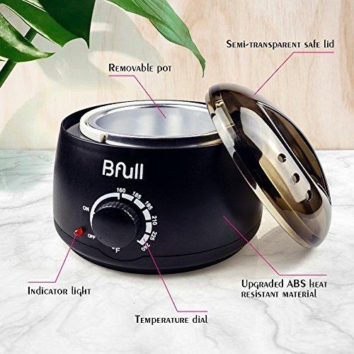 calentador de cera, bfull depilación con 5 bolsas (3.5 oz /