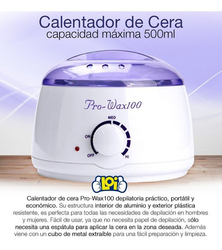 calentador de cera pro wax100 capacidad 500ml 80w loi