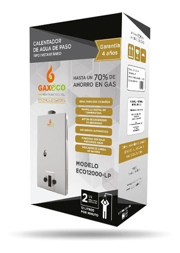 calentador de paso tipo instantáneo gaxeco12000 lp o natural
