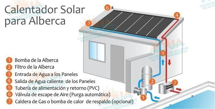 Calentador solar para albercas blue piscinas 1 700 for Calentador piscina solar