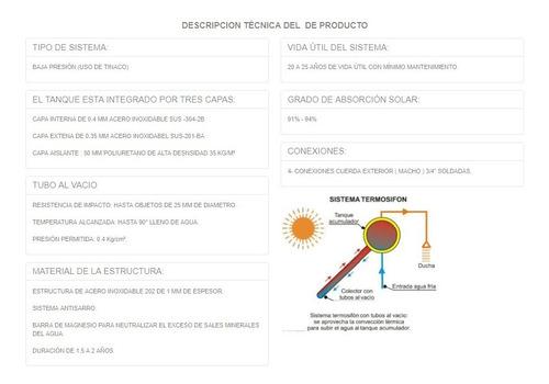 calentador solar 18 tubos acero inoxidable grado alimenticio