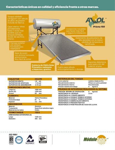 calentador solar axol modelo prisma 150 litros