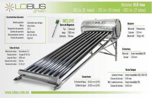calentador solar lobus 160 lts 12 tubos gratis barra magnesi
