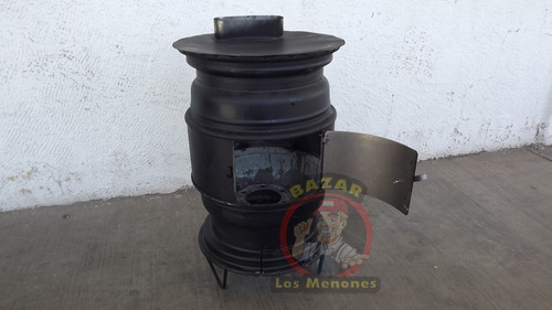 calentón de leña fabricado con rines vea el video/calefactor