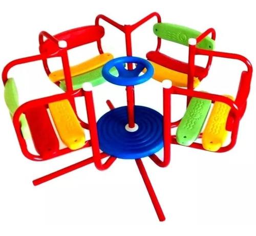 calesita 4 asientos metal reforzada katib 3 a 7 años hamaca