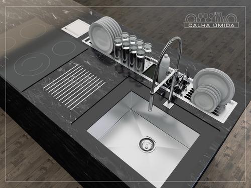 calha úmida canal equipado escorredor louça embutido cozinh