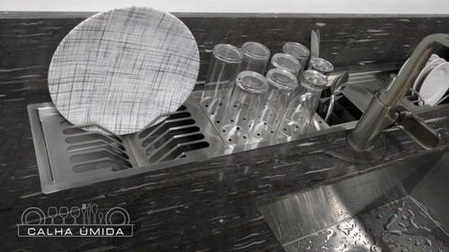 calha úmida canal equipado escorredor louça inox embutido