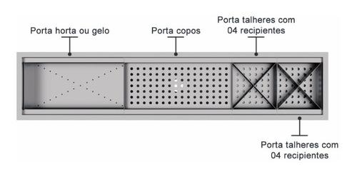 calha úmida canal equipado escorredor louça inox embutido pi