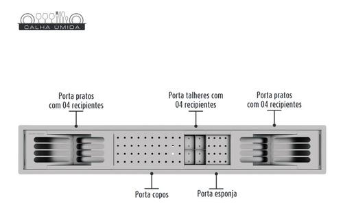 calha úmida canal equipado inox embutido escorredor louça pi