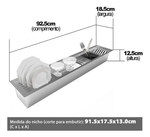 calha úmida canal organizador escorredor 90 x 18 inox saro