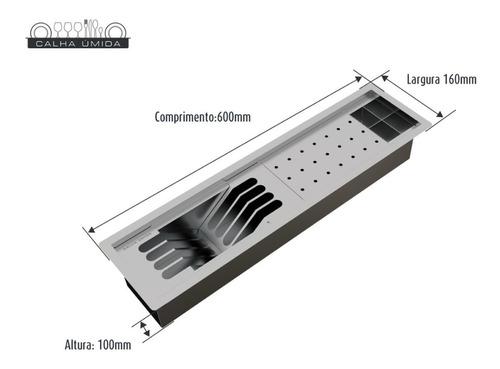 calha úmida completa sobrepor canal equipado inox 60 cm