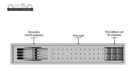 calha úmida cozinha canal equipado inox escorredor louça emb