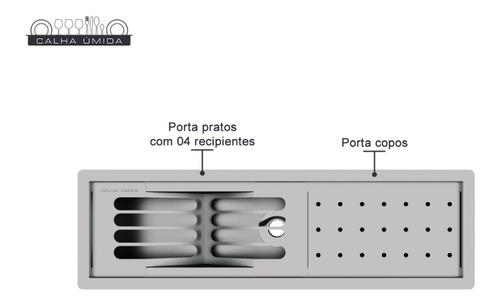 calha úmida embutida canal equipado inox  53cm 85cm 100 cm