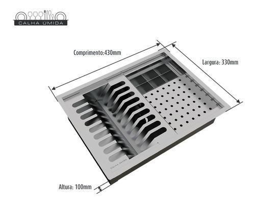 calha úmida quadrada canal equipado escorredor louça inox
