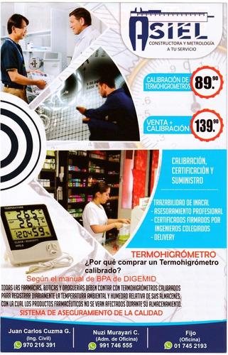 calibración de termohigrometro con certificación inacal