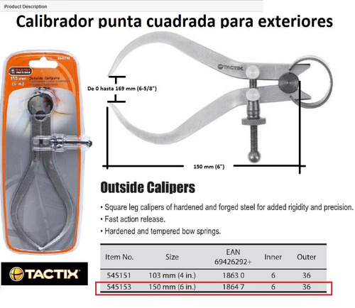 calibrador caliper externo tactix 150 mm 6  no parte 545153