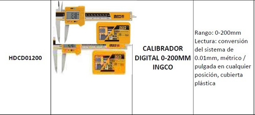 calibrador digital 0-200mm ingco modelo:hdcd01200
