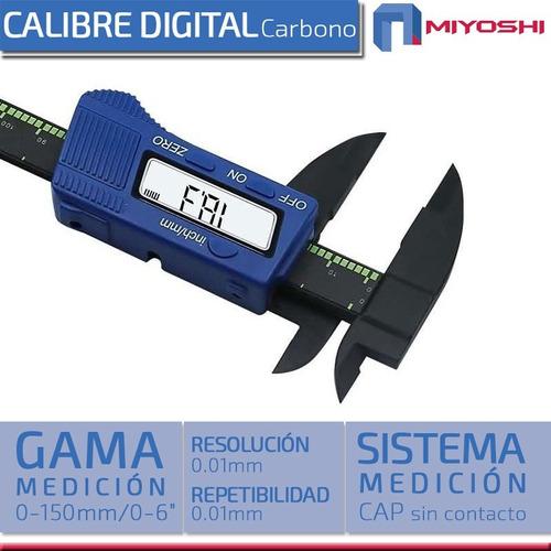 calibre digital carbono miyoshi 0-150 mm visor lcd + estuche