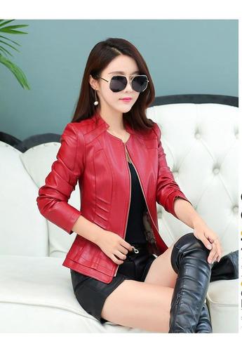 calidad chaqueta mujer cuero sintetico forrada diseño ropa