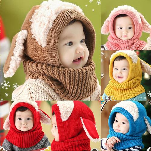 cálido gorro con orejas borrego y bufanda para niño niña