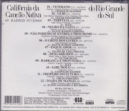 califórnia da canção nativa - cd maiores sucessos - 1996