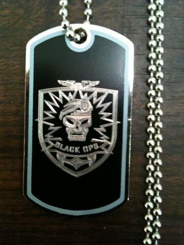 call of duty black ops dogtag w / bola cadeia