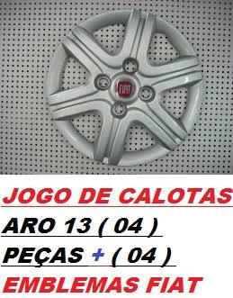 calotas  aro 13 ( 04 pçs ) p/  palio ,siena + emblemas  fiat