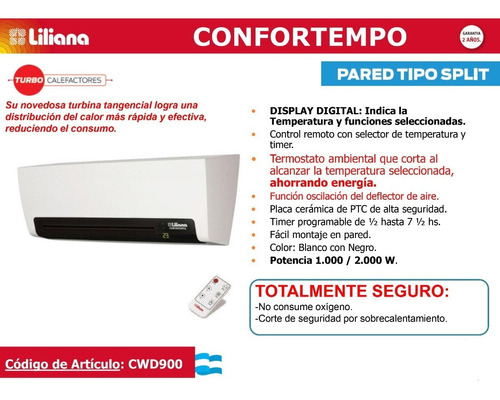 caloventor liliana modelo cwd-900 confortempo pared