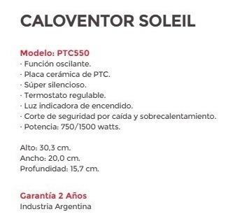 caloventor liliana ptc550 soleil 1500w oscilante gtia
