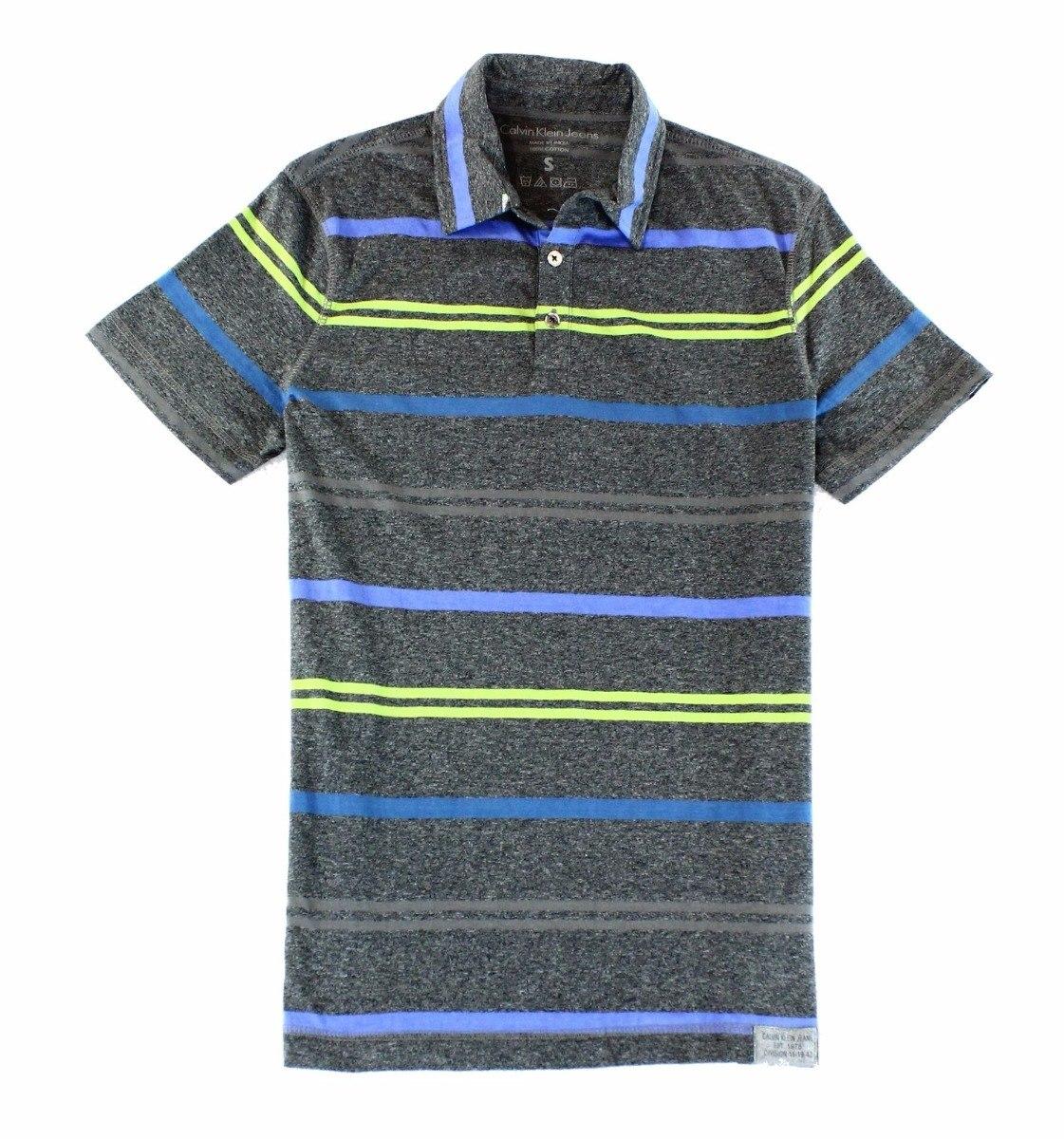 Calvin Klein Camiseta Polo Gris Rayas Talla M -   79.000 en Mercado ... ef9324d06b30c