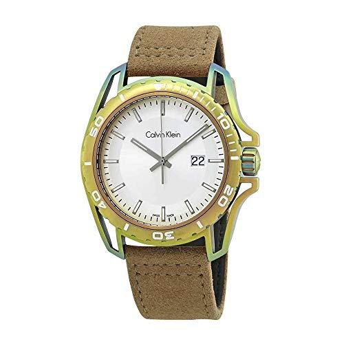 Calvin Klein Earth Silver Dial Reloj De Cuero Para Hombre K5 ... ecbbf57ca5d2