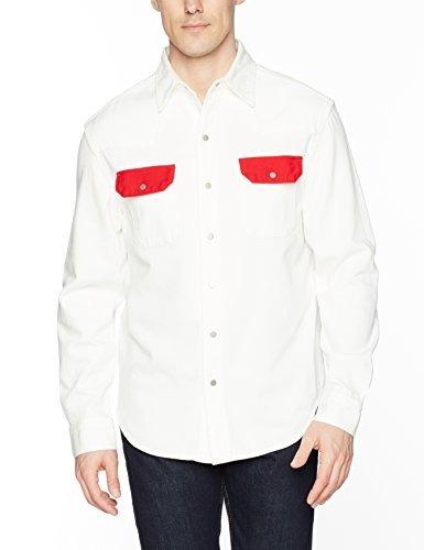 calvin klein jeans hombres camisa vaquera occidental blanco