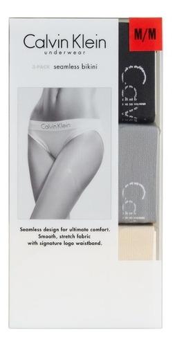 calvin klein, pantys 3 piezas estilo bikini para dama, ac