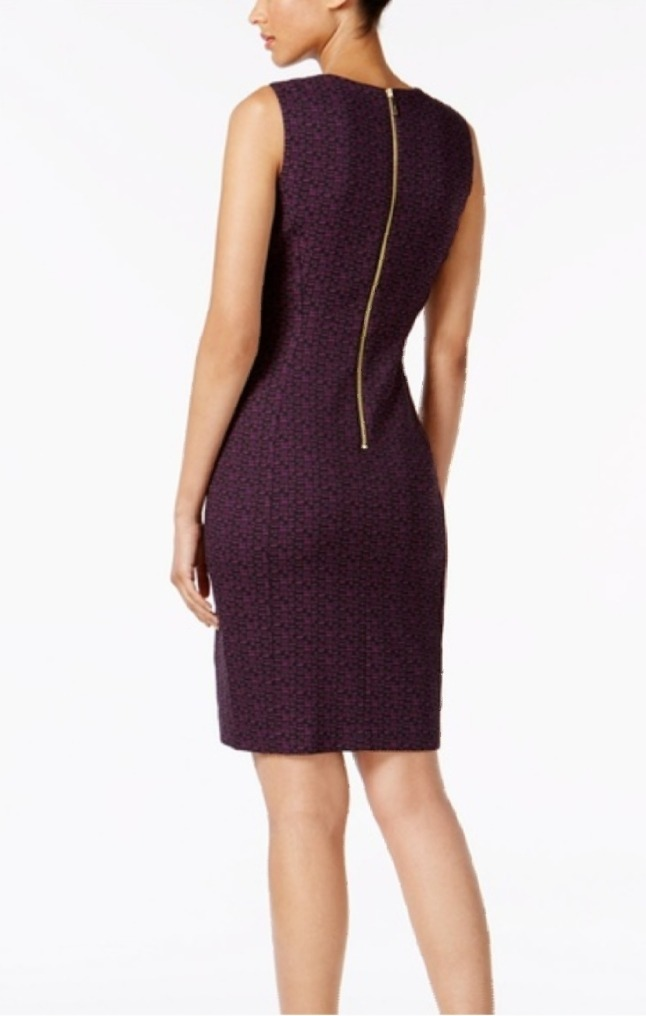 Calvin Klein Vestido Elegante Strech Morado Talla 8 Nuevo