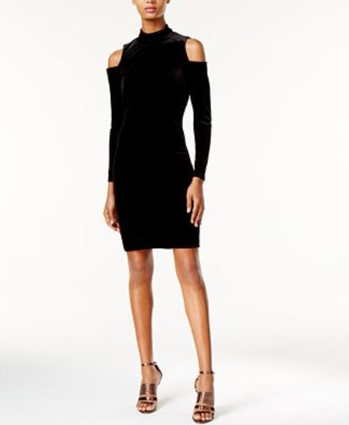 000496227f Calvin Klein Vestido Negro De Velvet Talla 6 -   850.00 en Mercado Libre