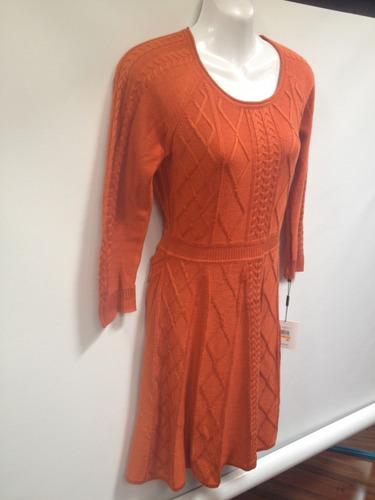 calvin klein vestido tipo sueter pegado suelto anaranjado s