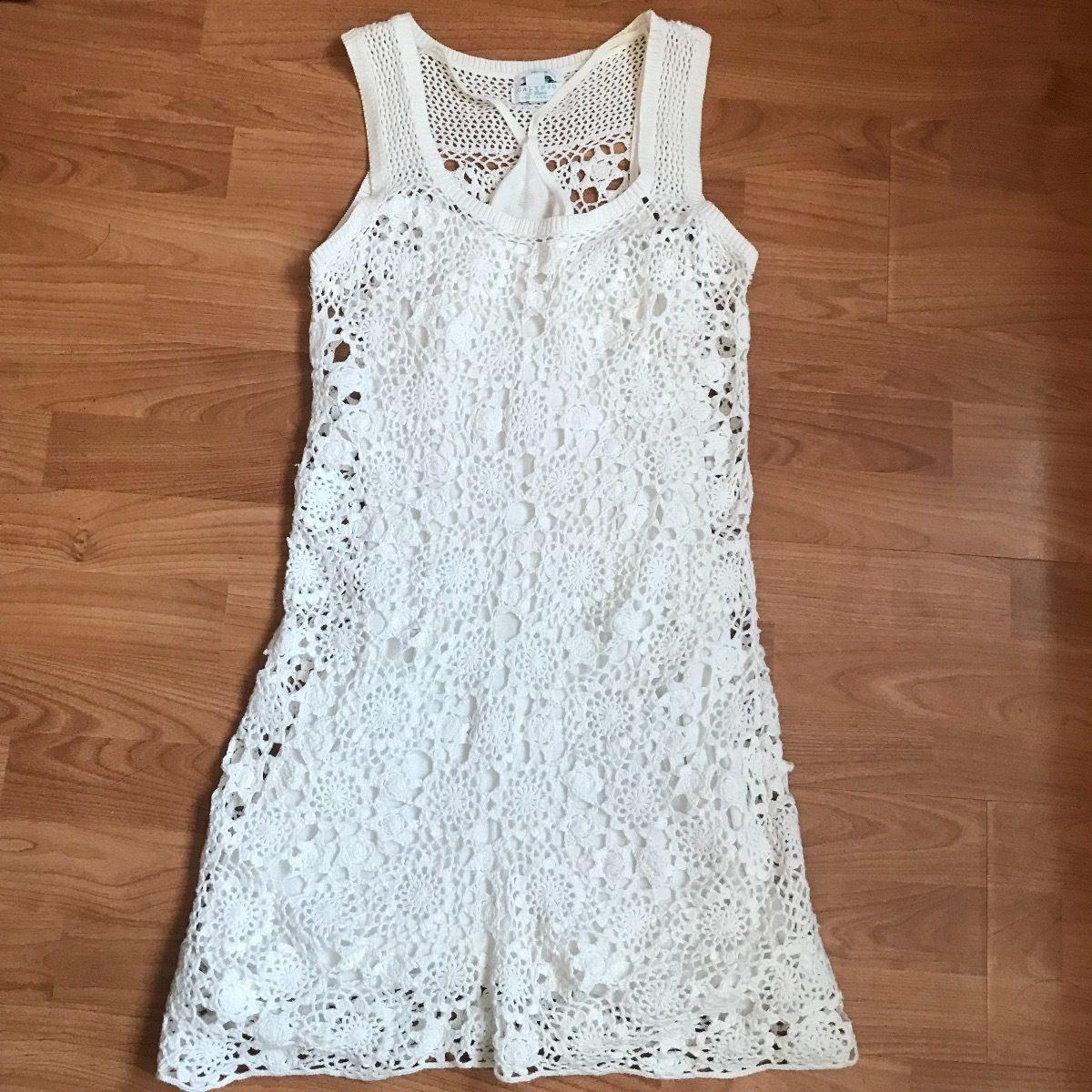d26814aa7c18 Calypso Vestido De Crochet Blanco Talla Chica 2 Pzas Pareo - $ 290.00
